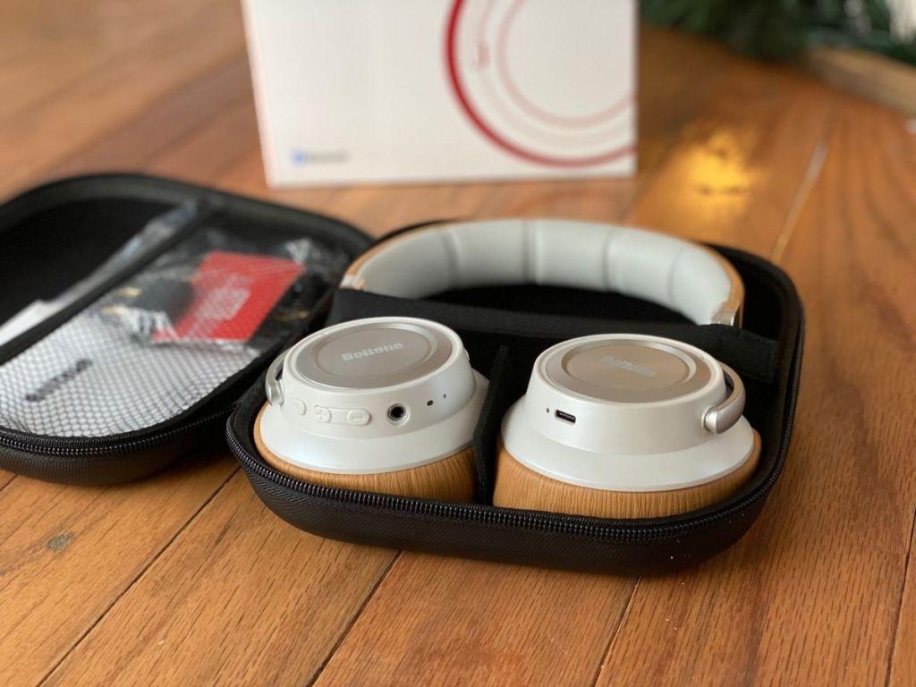 brown Boltune headphones in case