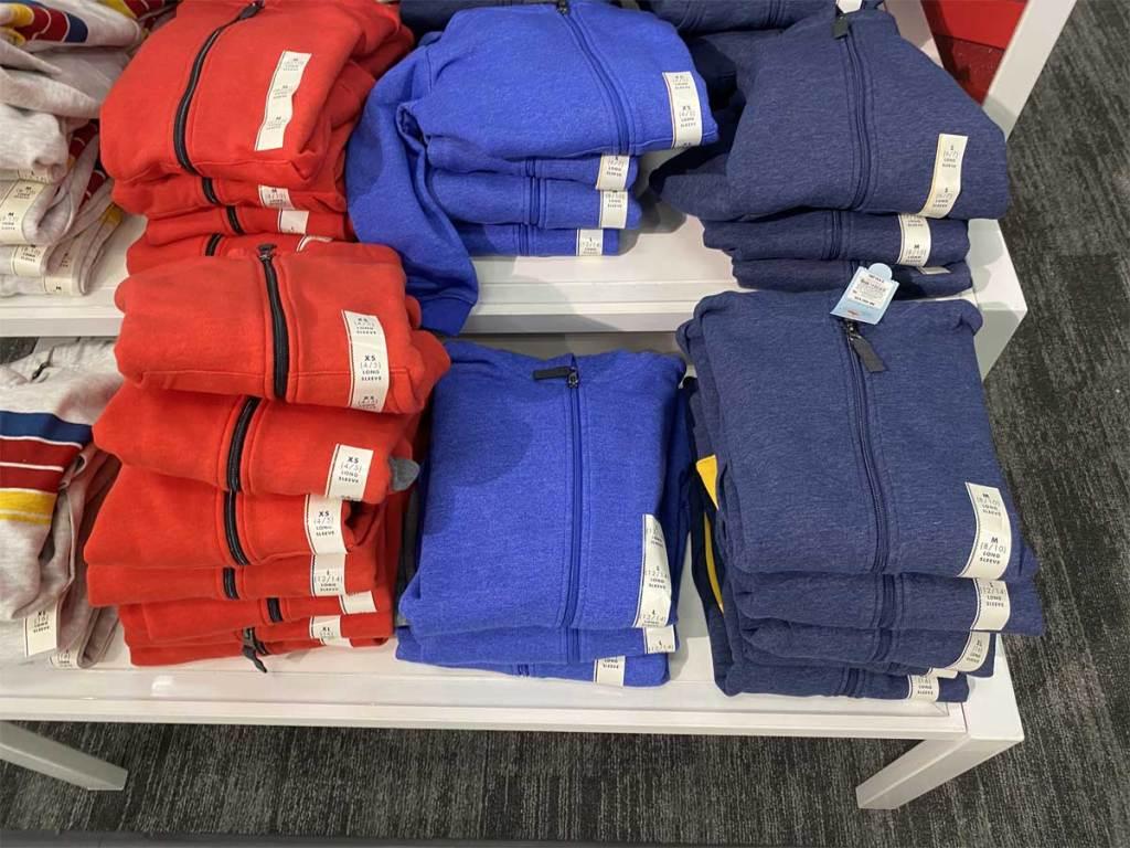boys hoodies on display in store