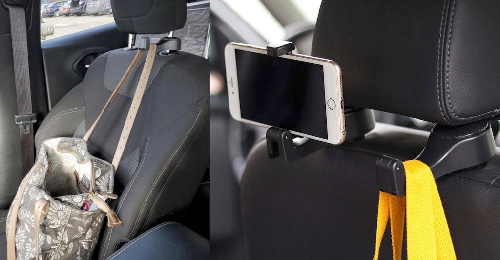 purse hanging from hook with phone on back of headrest
