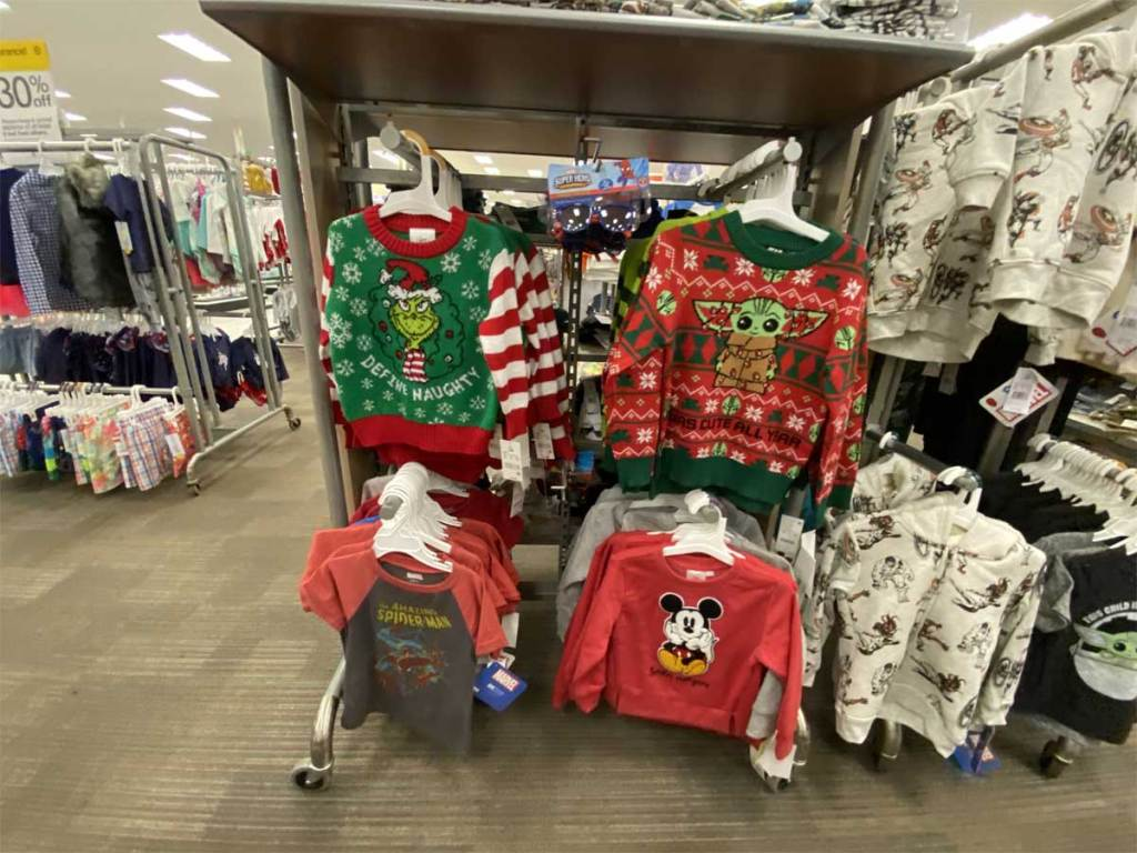 children's sweaters on display in store