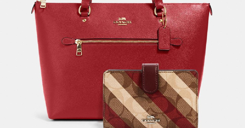 coach bundle red purse with striped wallet