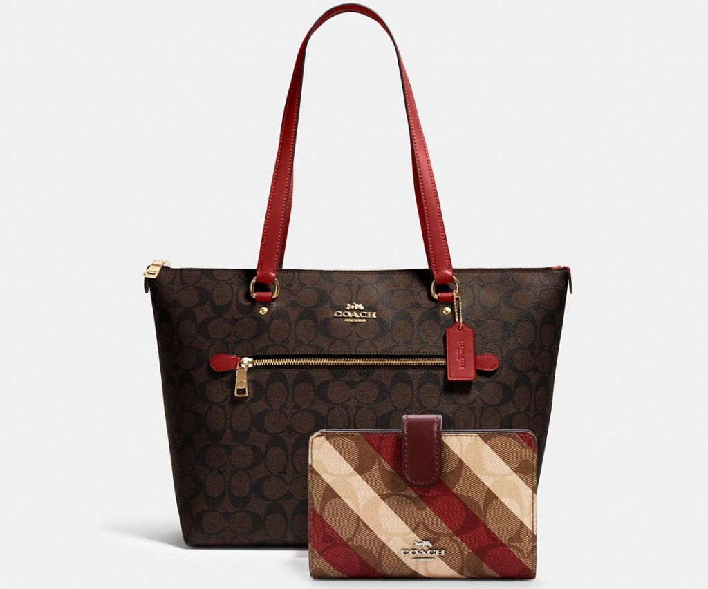coach signature bundle brown purse with red handles