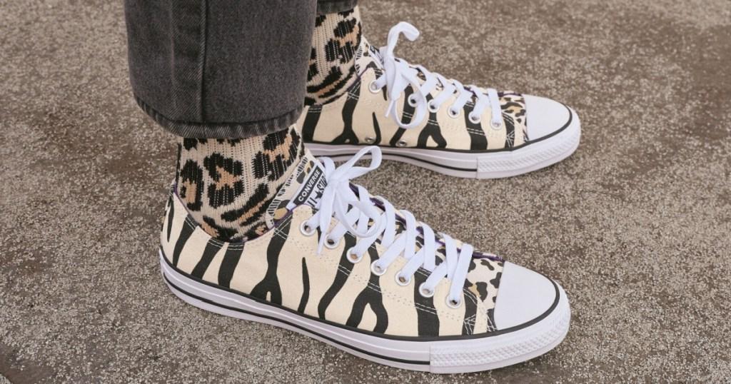 converse animal print on feet
