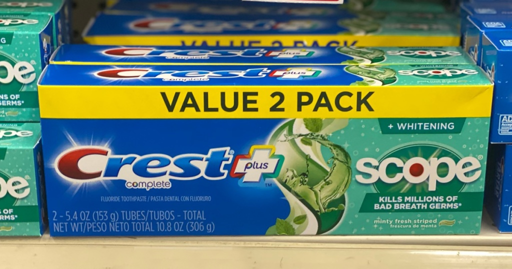 2 pack of crest scope toothpaste