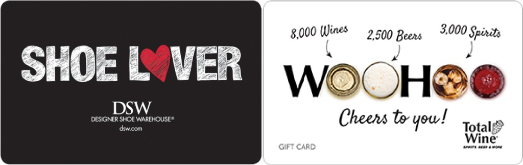 dsw and total wine gift cards