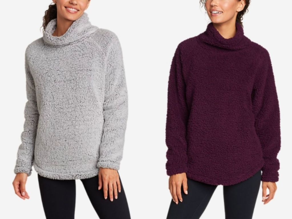 women wearing gray and plum pullover