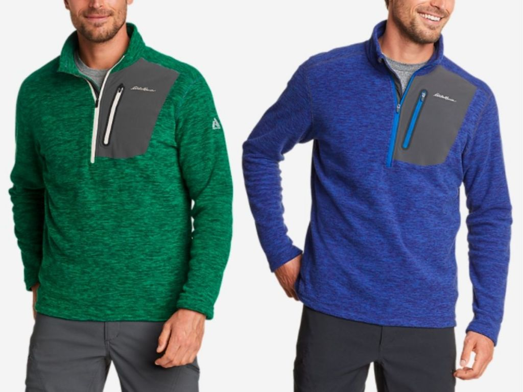 men wearing green and blue Eddie Bauer pullovers