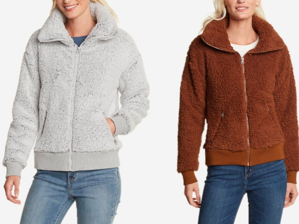 white and brown plush jackets