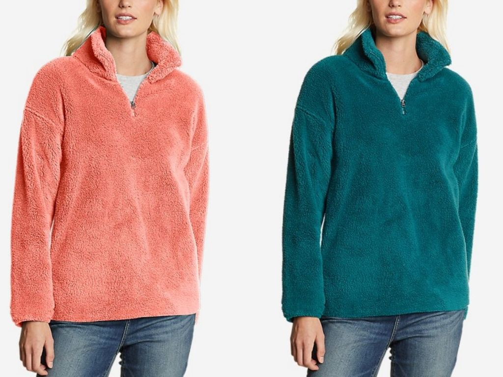 women wearing pink and teal plush pullovers