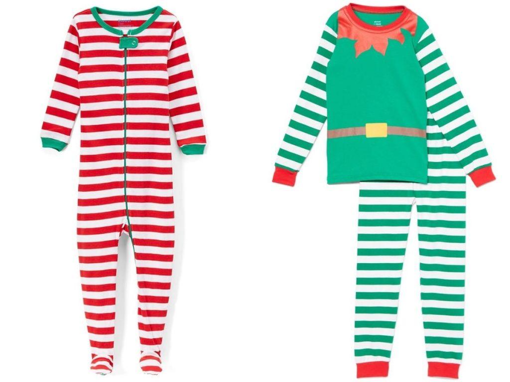 red and white striped pajamas and elf pajamas