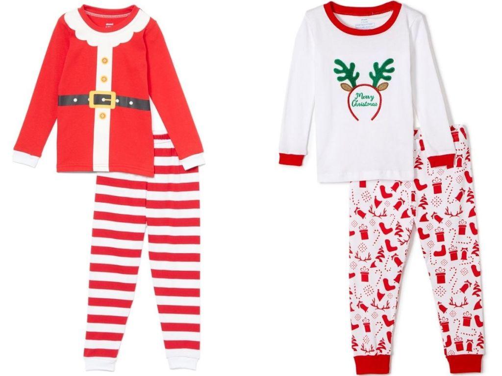Santa pajamas and reindeer pajamas