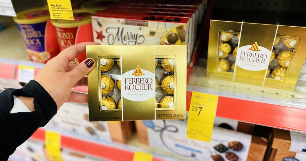 ferrero chocolates in hand at Walgreens