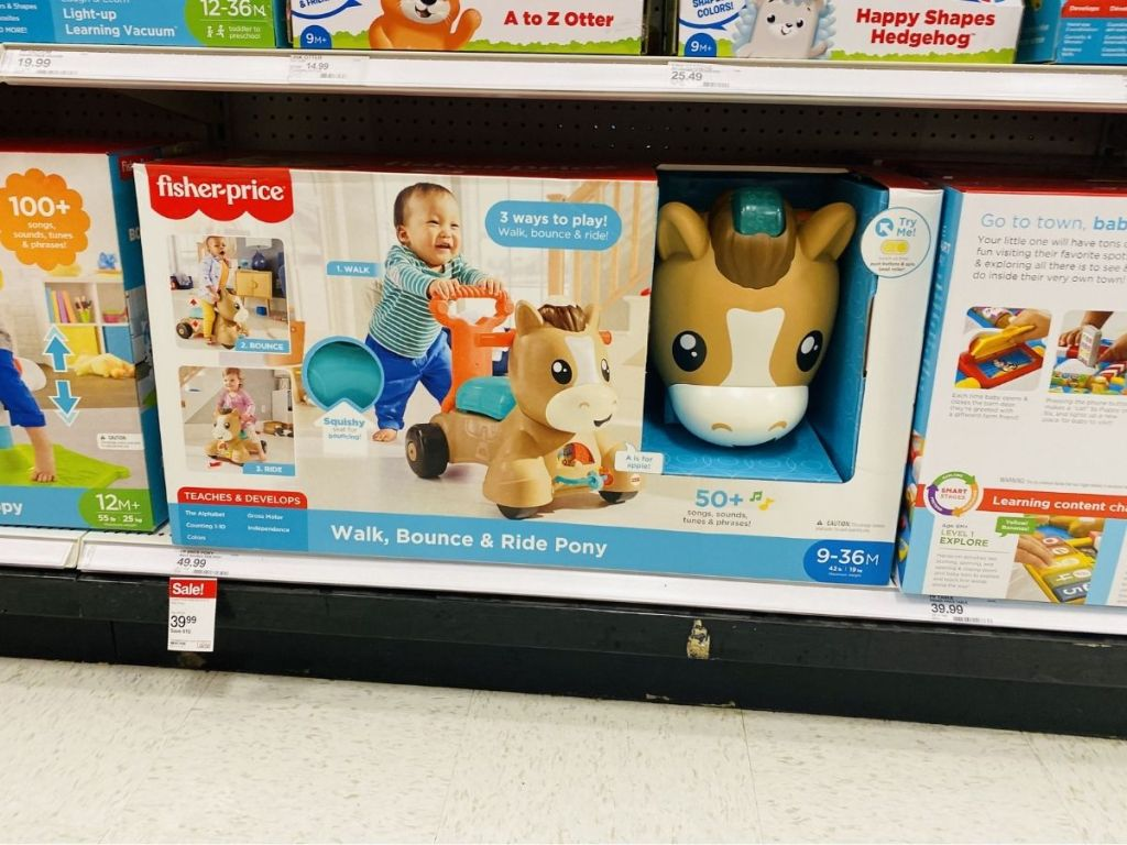 Fisher-Price walk bounce and ride pony on store shelf