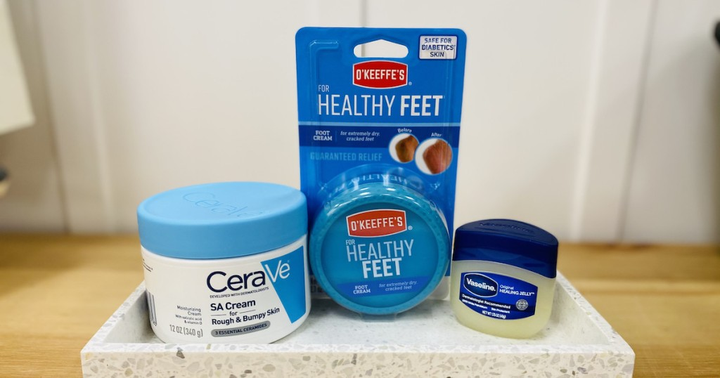 various types of dry foot cream remedies on table