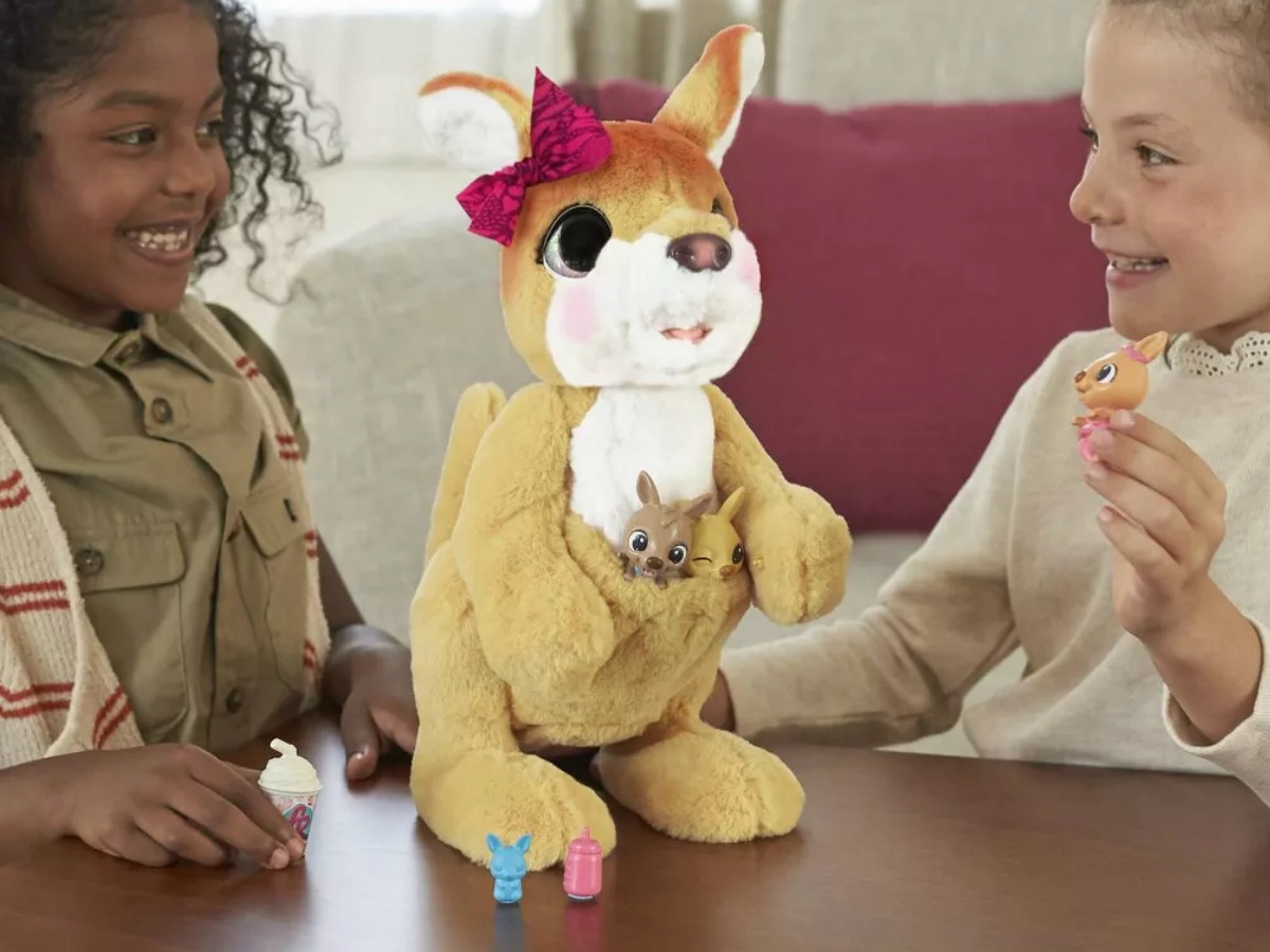 two girls playing with furReal Mama Josie the Kangaroo Interactive Pet Toy