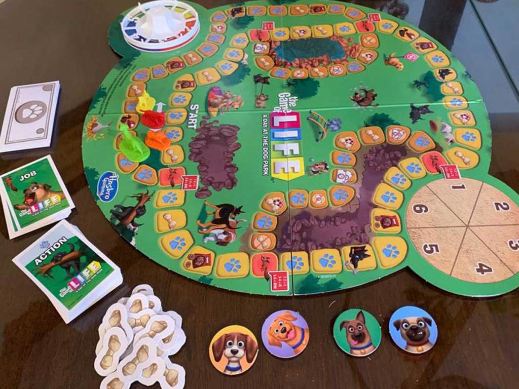 game of life dog edition set up on table