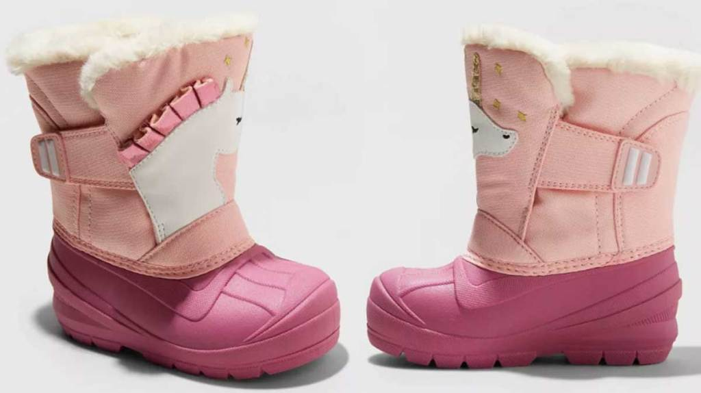girls winter boots unicorns stock image