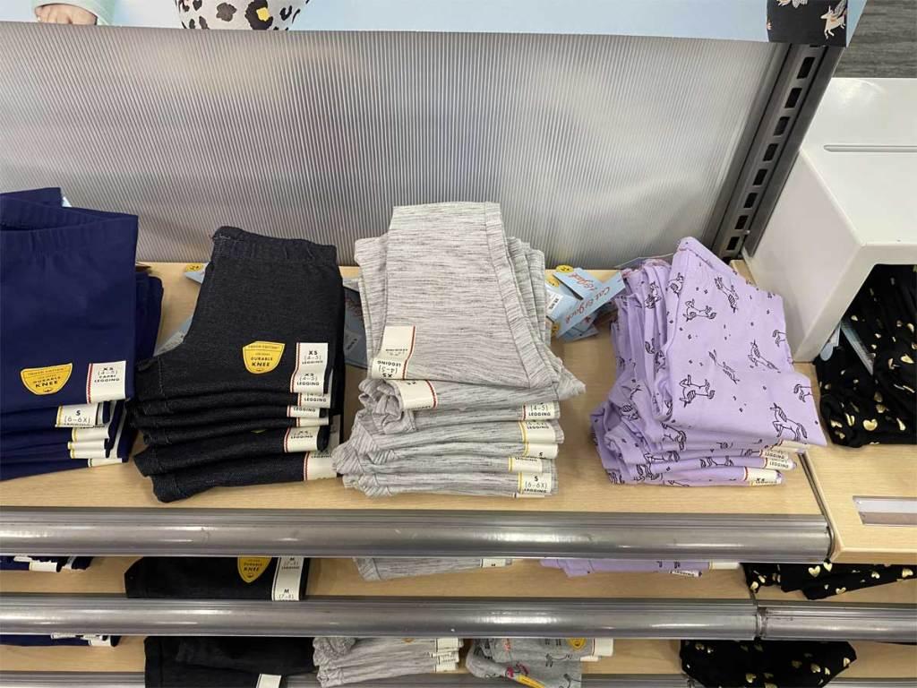 girls leggings on display in store