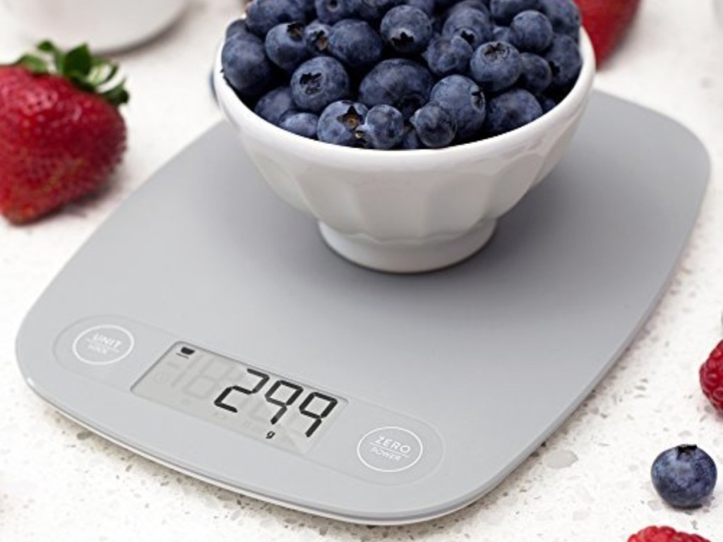 bowl of blueberries on kitchen scale