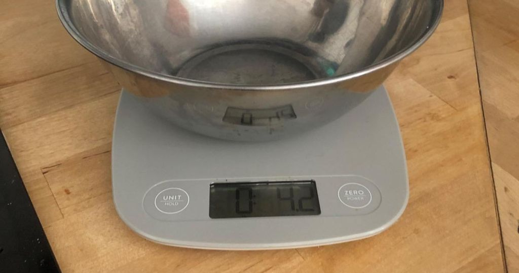 stainless mixing bowl on food scale