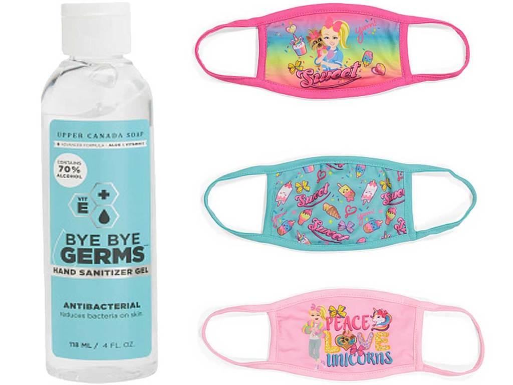 hand sanitizer and kids face masks