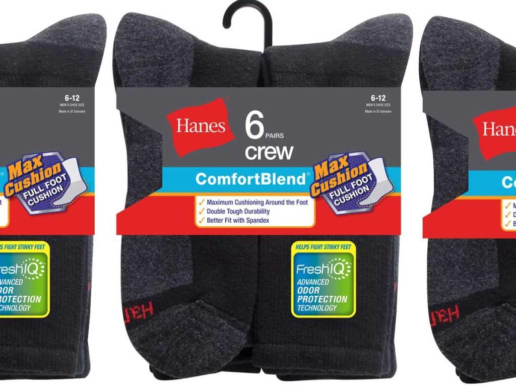 black and grey 6-packs of hanes socks