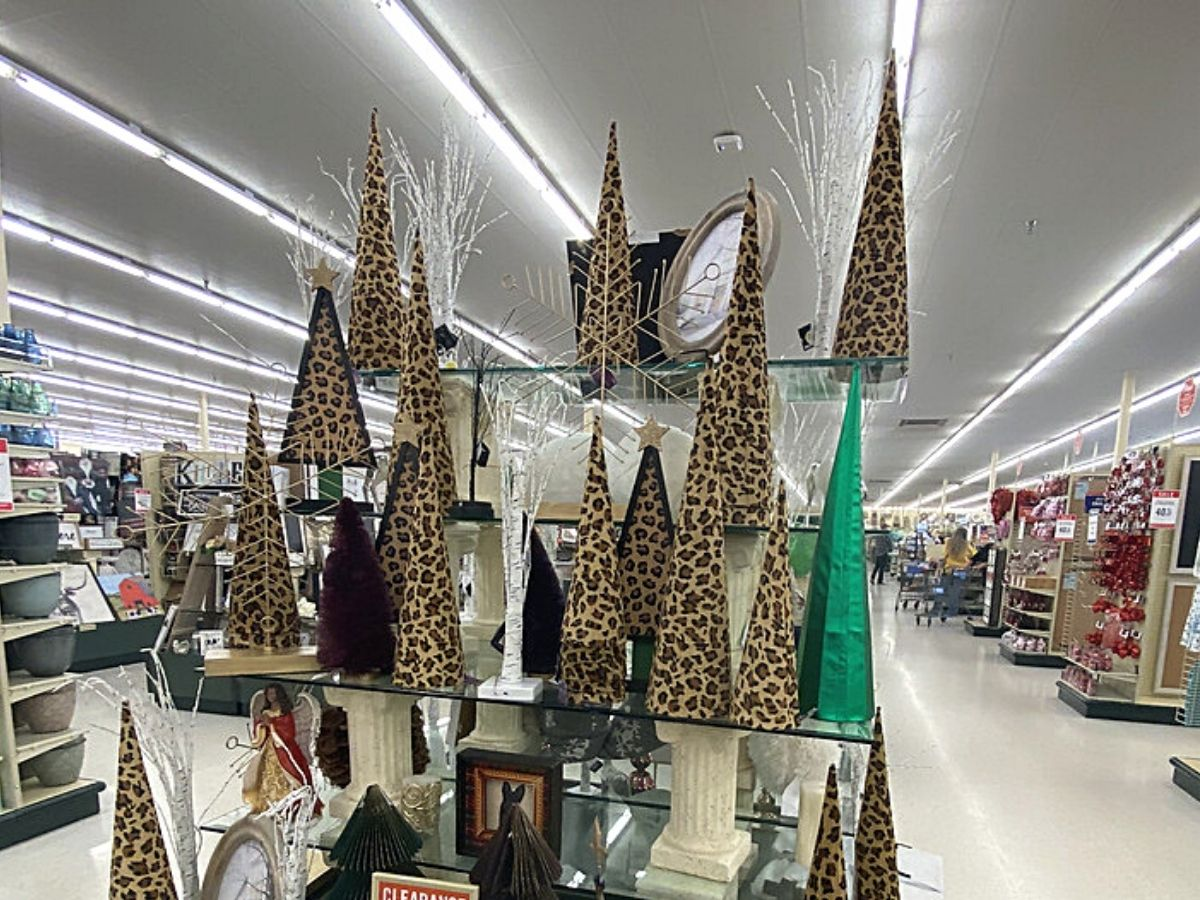 leopard and black Christmas tree decorations