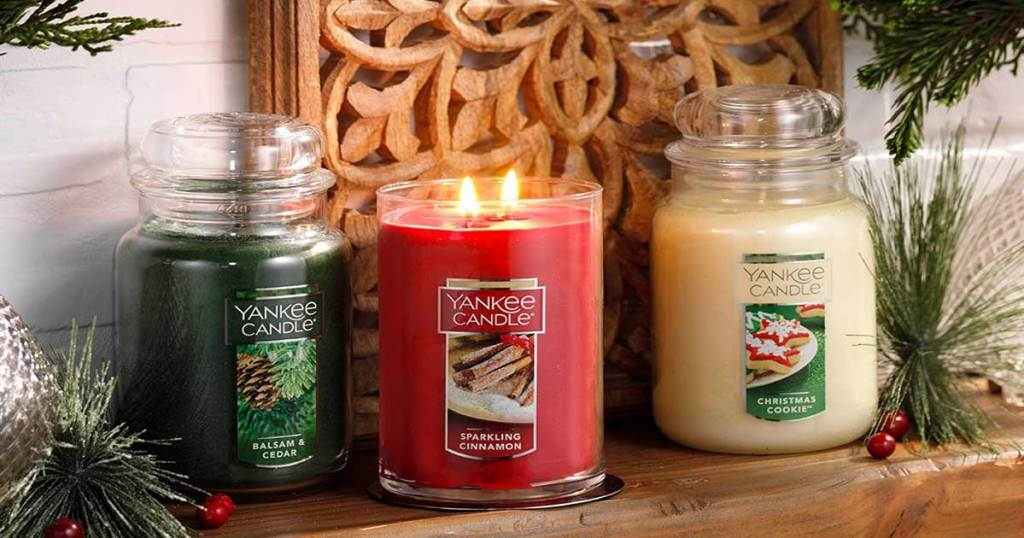 holiday candles in green red and white