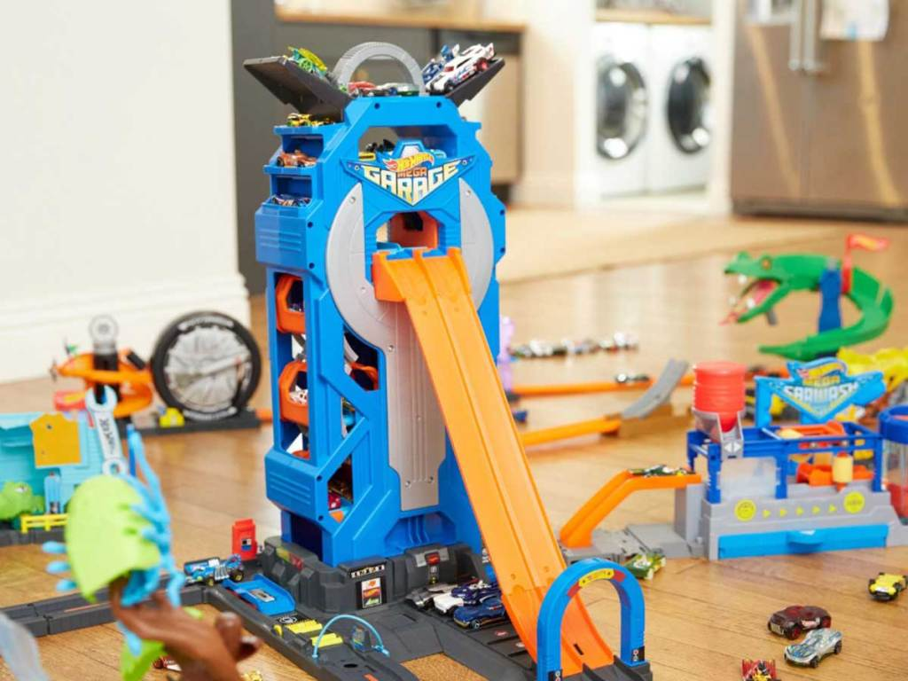 play car garage and ramp in playroom