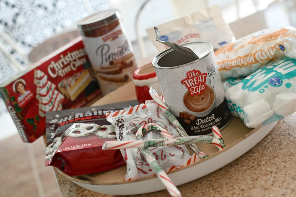 ingredients to make hot cocoa charcuterie board