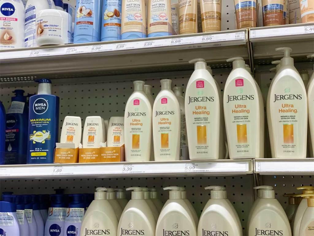 bottles of lotion on shelves in stores