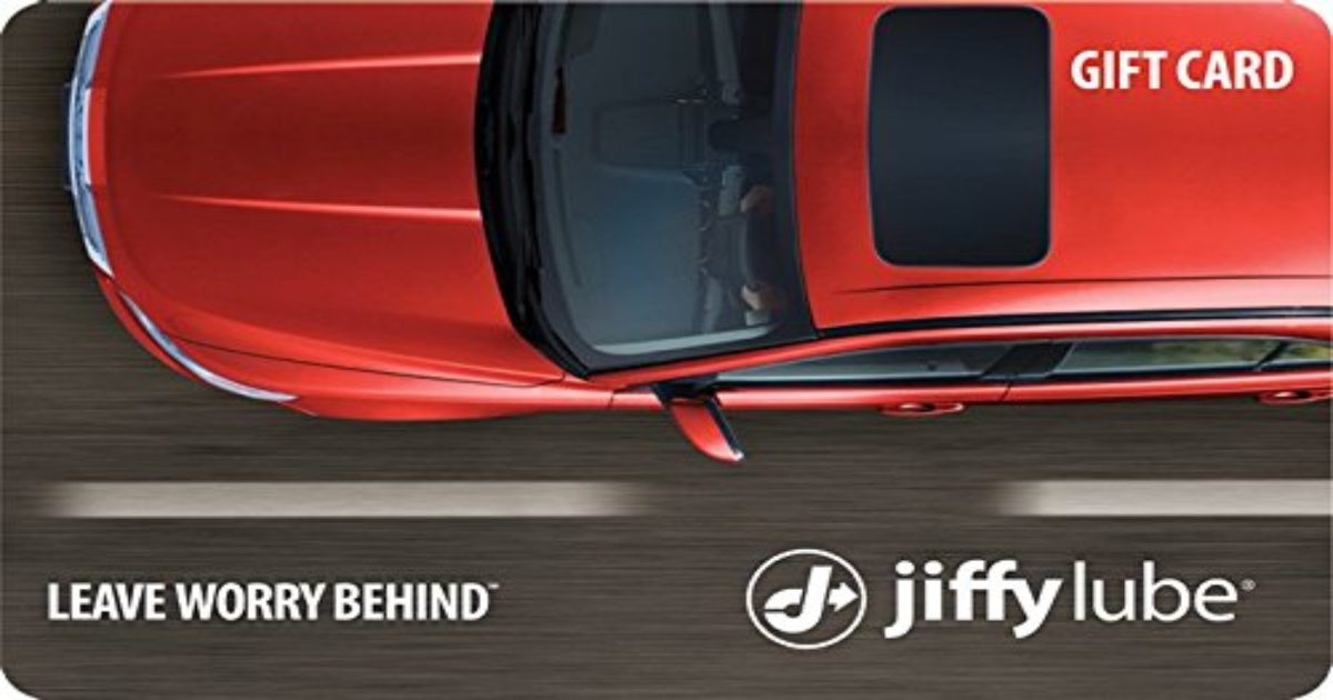 Jiffy Lube Gift Card image with the top of a red car