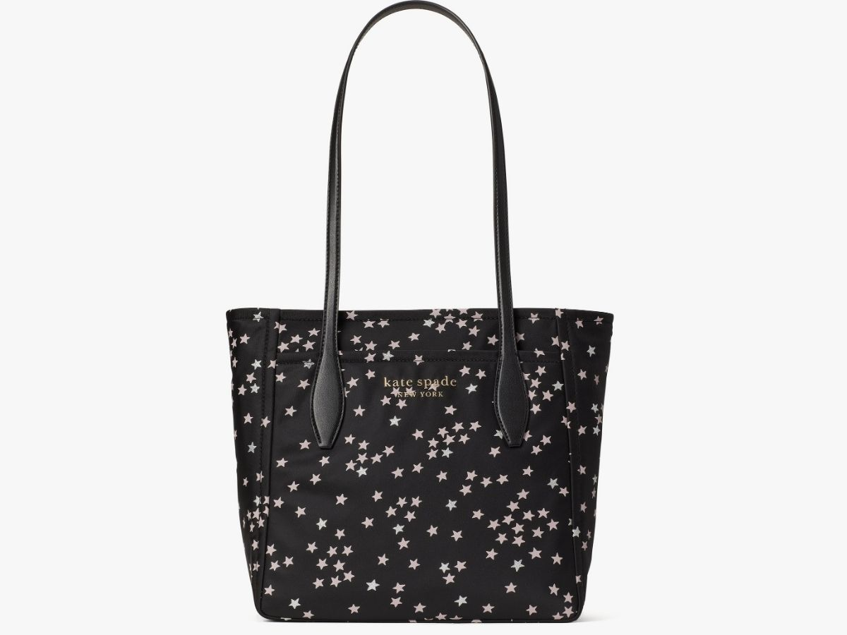 black and pink stars on kate spade tote bag