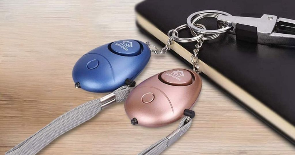 blue and rose gold alarm keychains