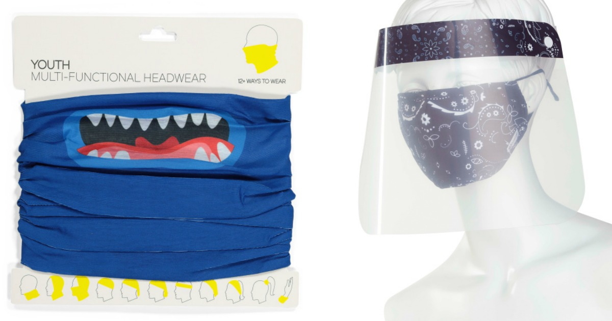 kids gaitor in package and face mask and face shield on mannequin