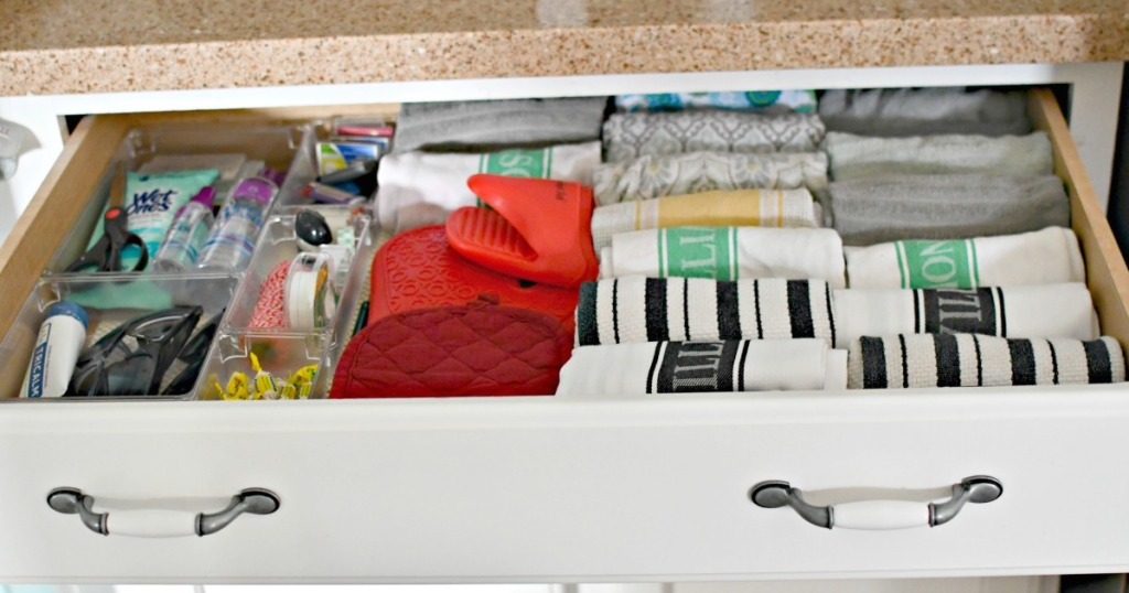 junk drawer organizing with kitchen towels