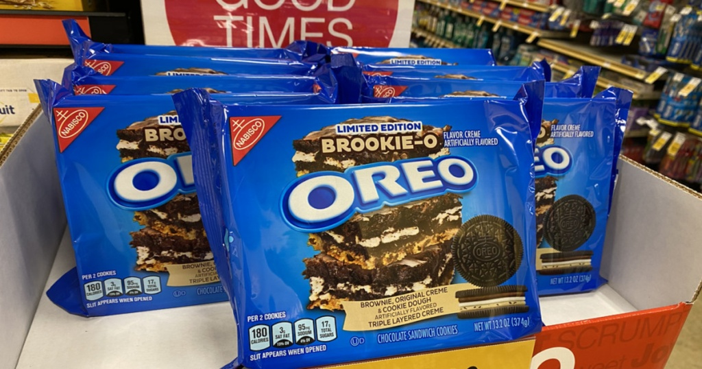 packages of brookie o oreo cookies on display in a store