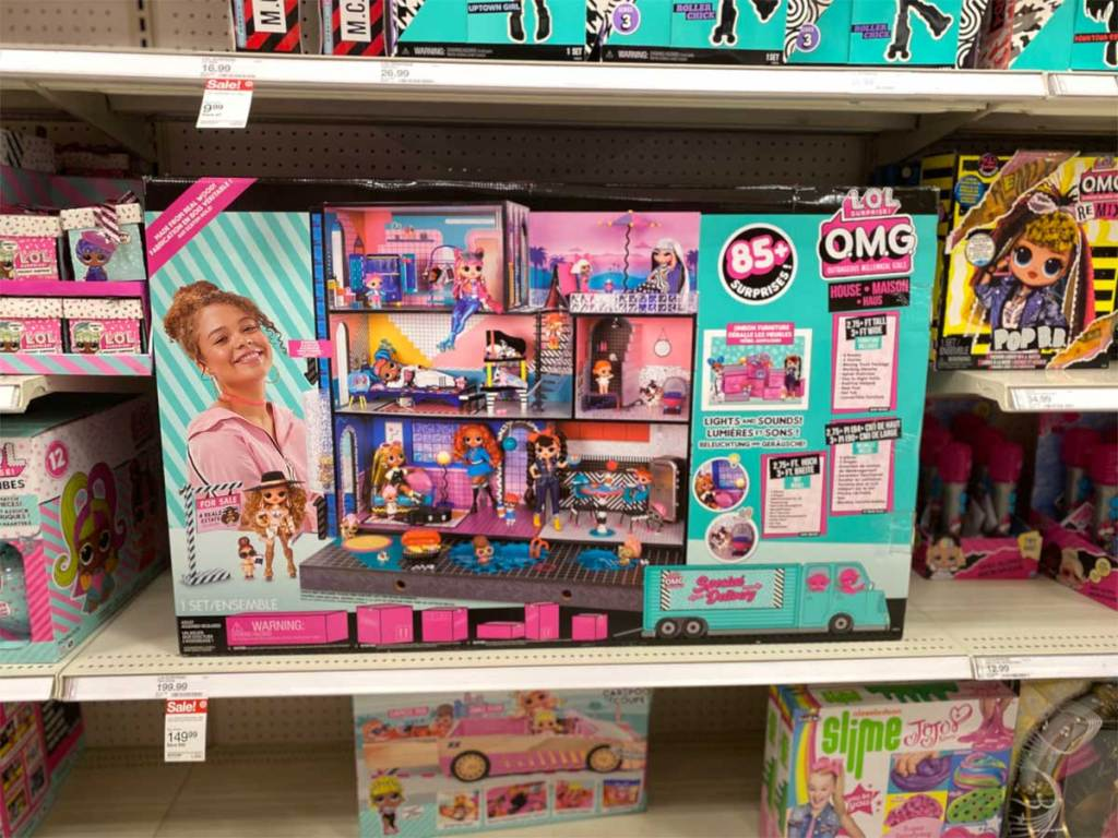 big house playset on shelf in store