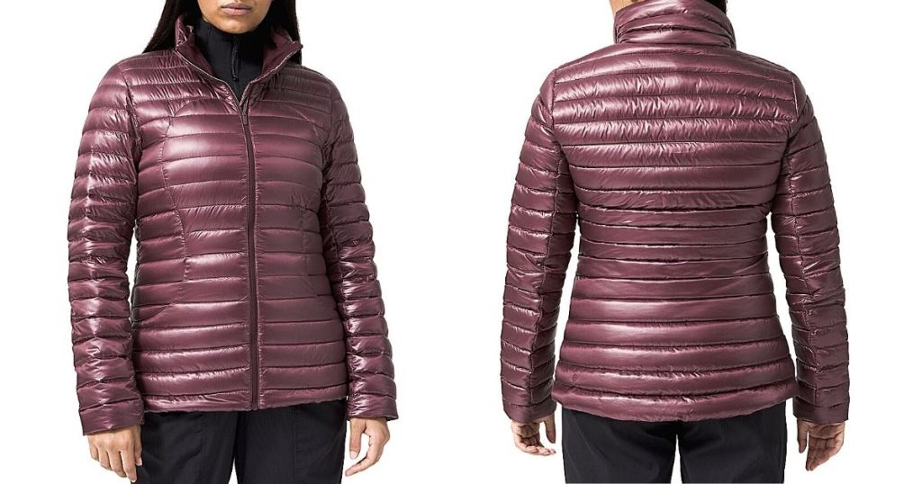 front and back view of woman wearing pink shine puffy jacket