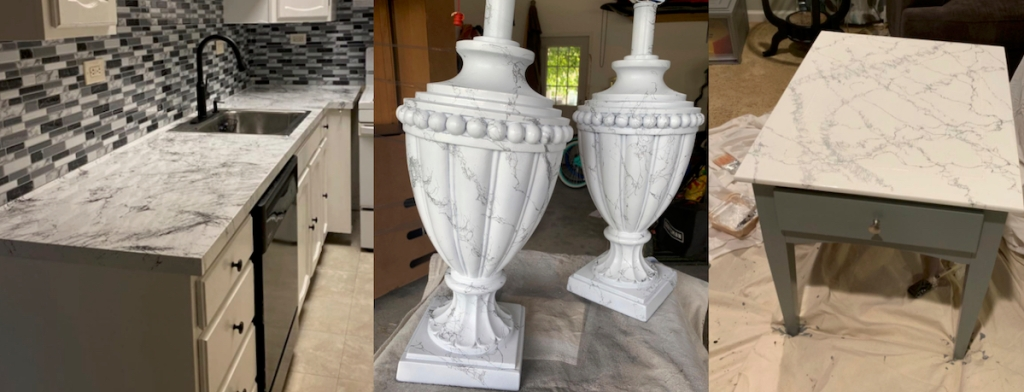 marble countertop lamps and side table