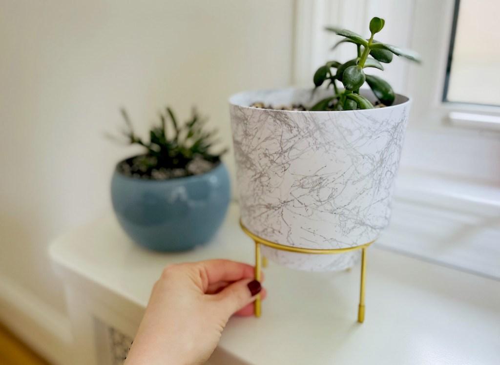 hand holding leg on marble planter