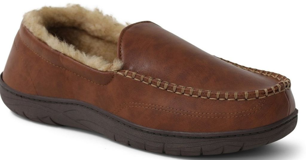 side view of brown fur-lined slippers