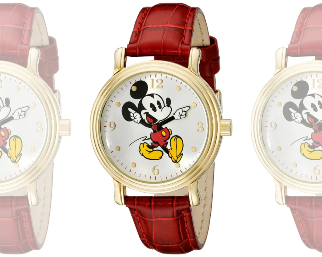 mickey mouse watch with red strap