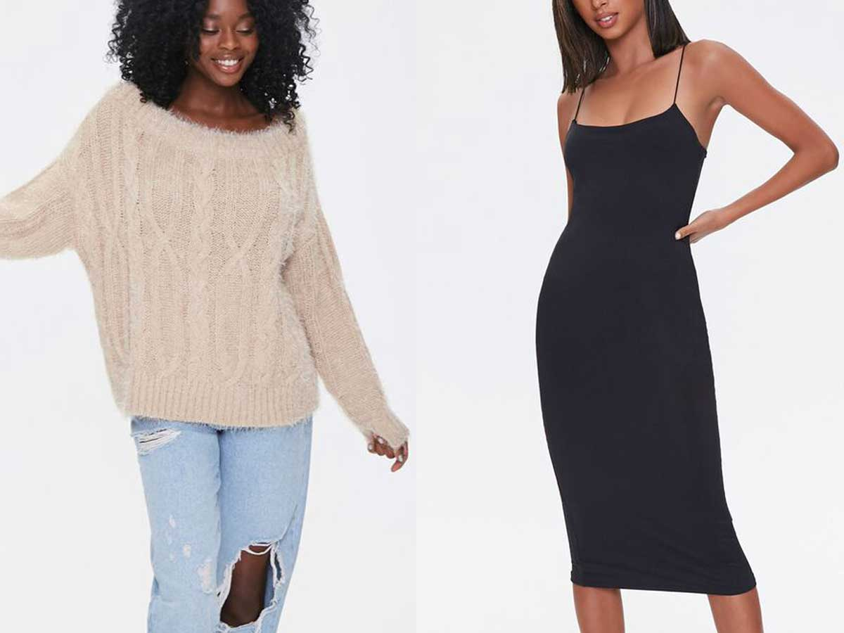 models wearing sweater/jeans and black dress