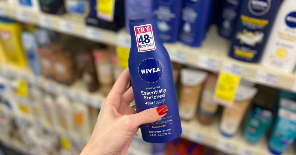 nivea lotion in hand in store