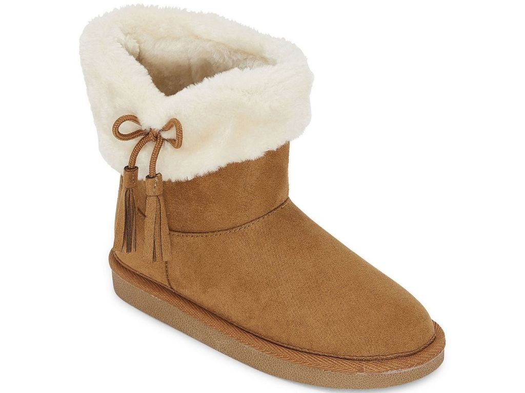 brown slip on girls boots with brown bow on white fur lining