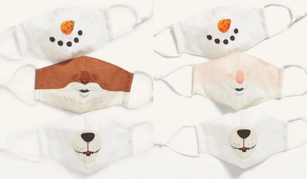 old navy kids critter masks with snowman and santa