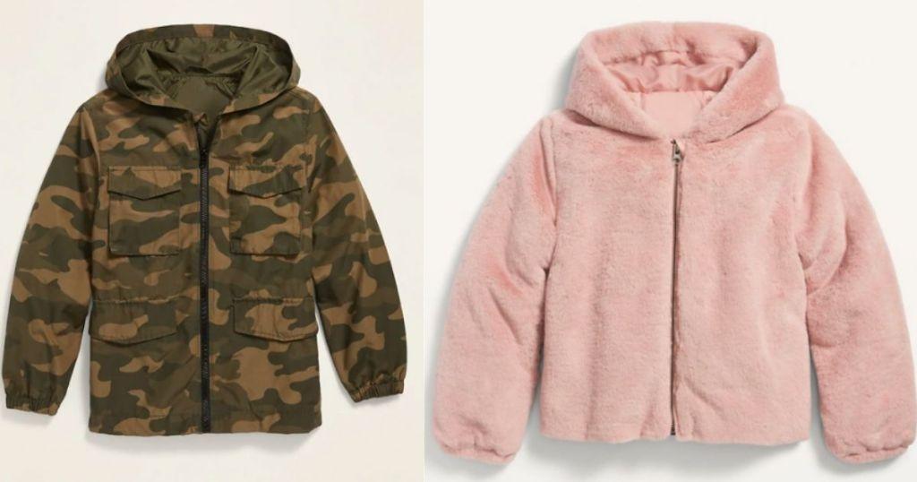 jaket camo anak laki-laki dan jaket anak perempuan berbulu merah muda