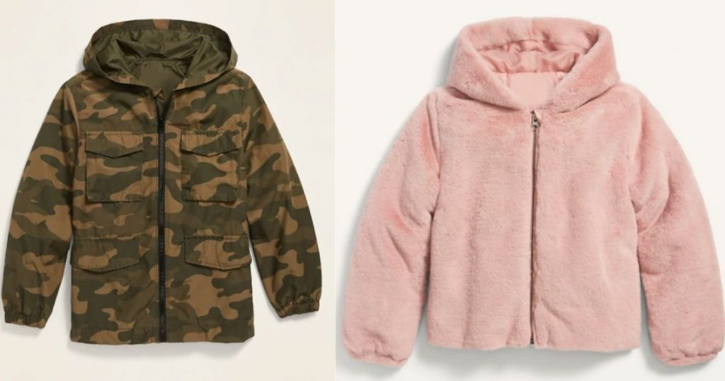 camo boys jacket and pink fluffy girls jacket