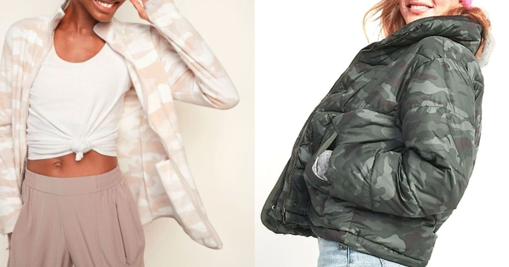 wanita yang mengenakan jaket microfleece dan puffer
